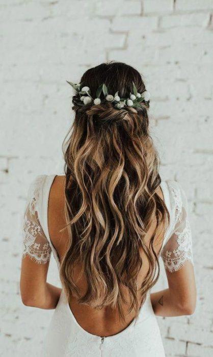 Peinados de novia semi recogido